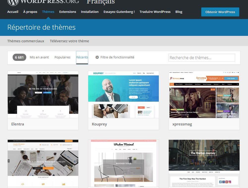 Wordpress c'est près de 7000 themes gratuits disponibles
